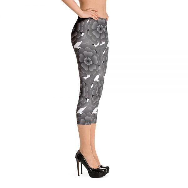 grey flower capri leggings