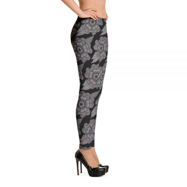 goth flower allover print leggings