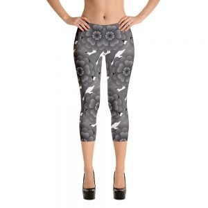 grey flower capri leggings