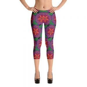 Hawaiian flower capri leggings