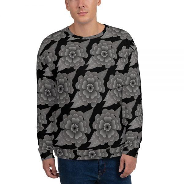 goth flower allover print sweatshirt