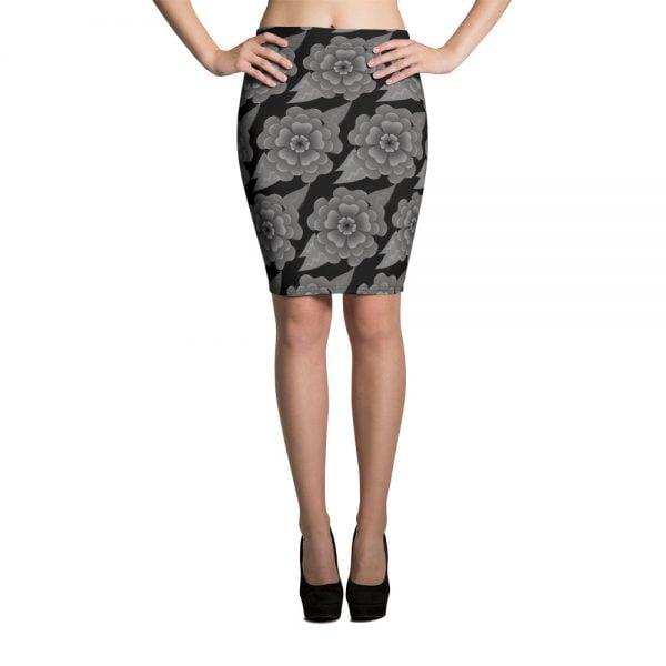 Goth flower pencil skirt