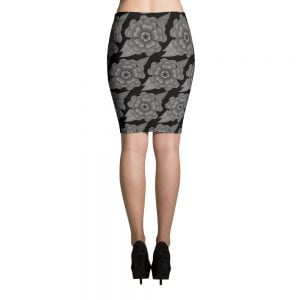 Goth flower pencil skirt
