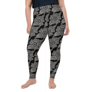Goth flower plus size leggings