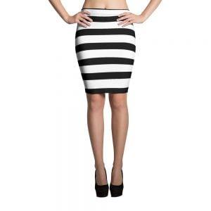 Striped Spandex Pencil Skirt