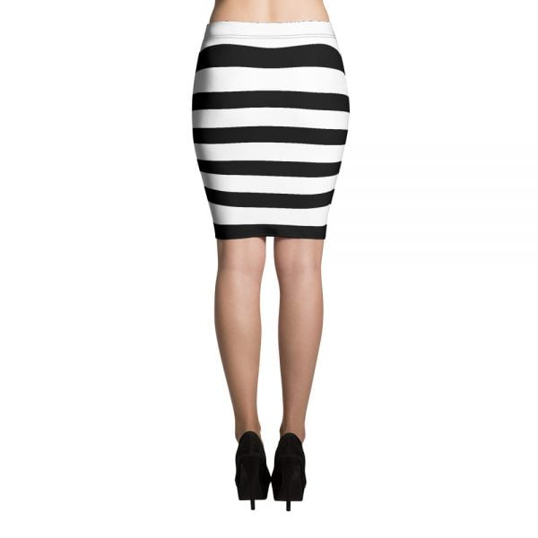 Striped Spandex Pencil Skirt