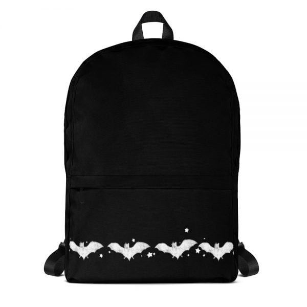 Black back pack with white bats, Graphic