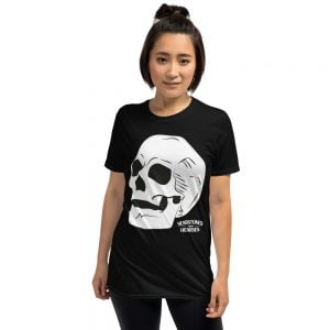 skull on black t-shirt