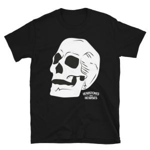 skull design on black t-shirt