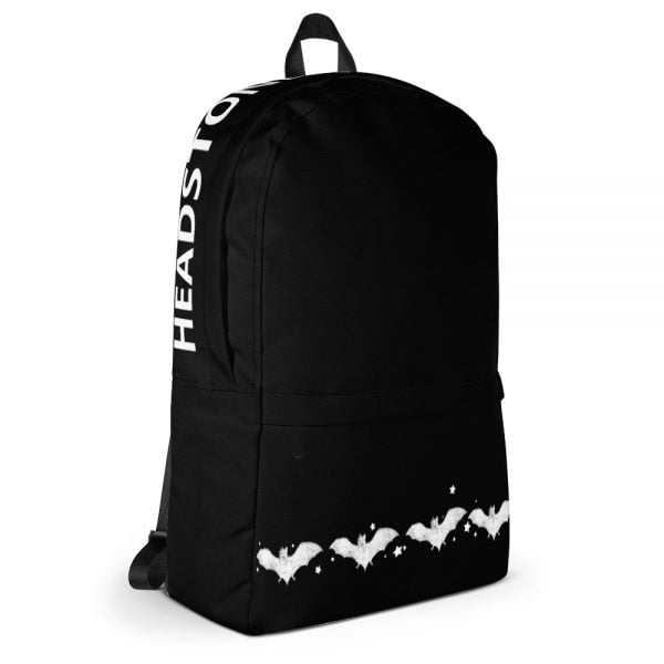 Black back pack with white bats