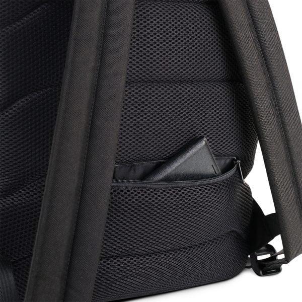 Black back pack with white bats pocket detail