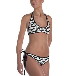 Black and white bat stars two piece swimsuit