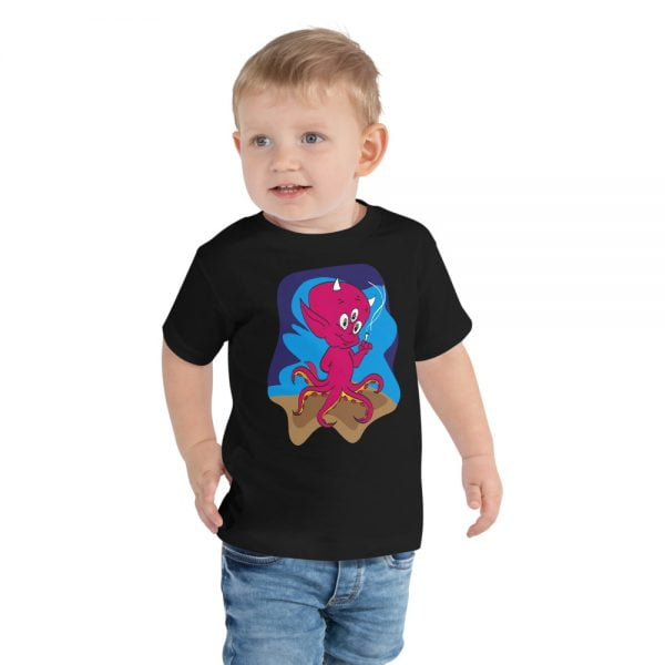 smoking 3 eyed octopus devil baby toddler t-shirt