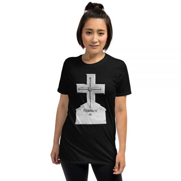 sinner cross headstone black t-shirt