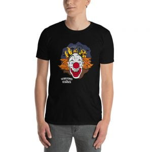 crazy clown face black t-shirt
