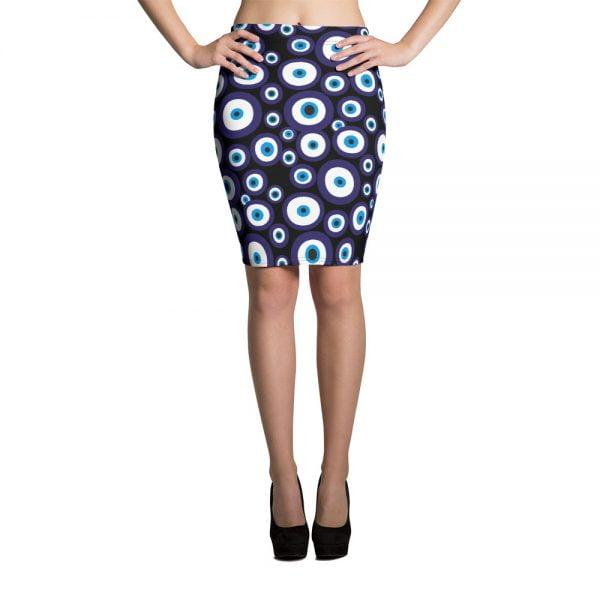 black nazar evil eye pecil skirt