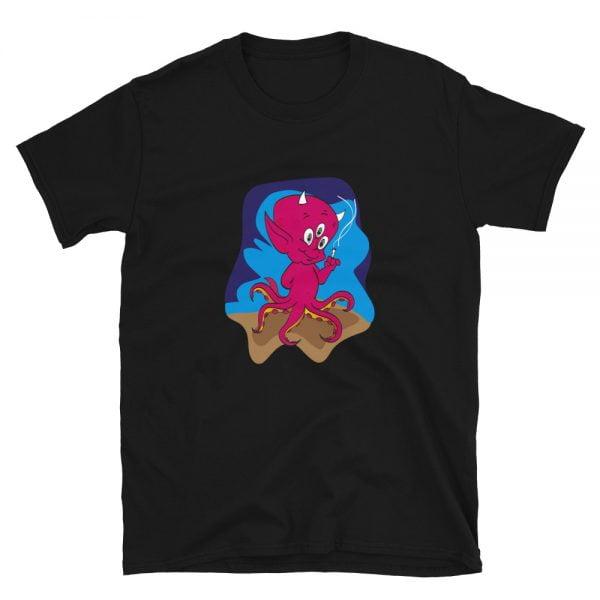 smoking 3 eyed octopus devil baby black t-shirt