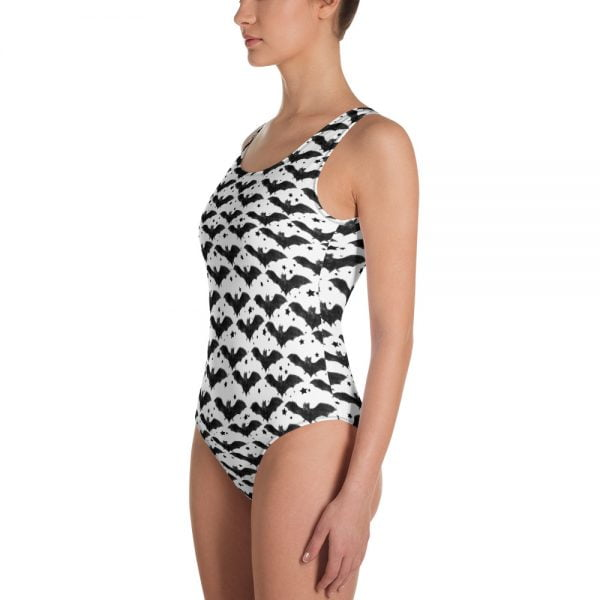 Black and white bat stars one piece swimsuit