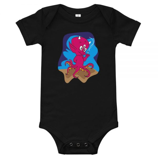smoking 3 eyed octopus devil baby toddler onesie