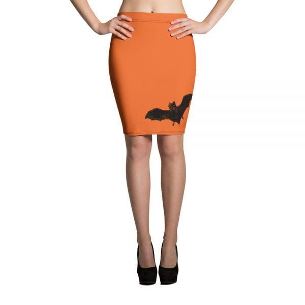 black and orange vampire bat retro pencil skirt