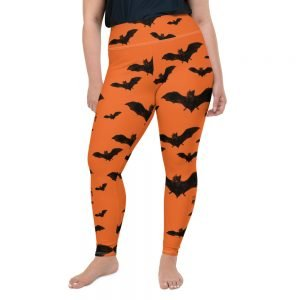 black and orange vampire bat halloween plus size leggings
