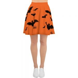 black and orange vampire bat retro skater skirt