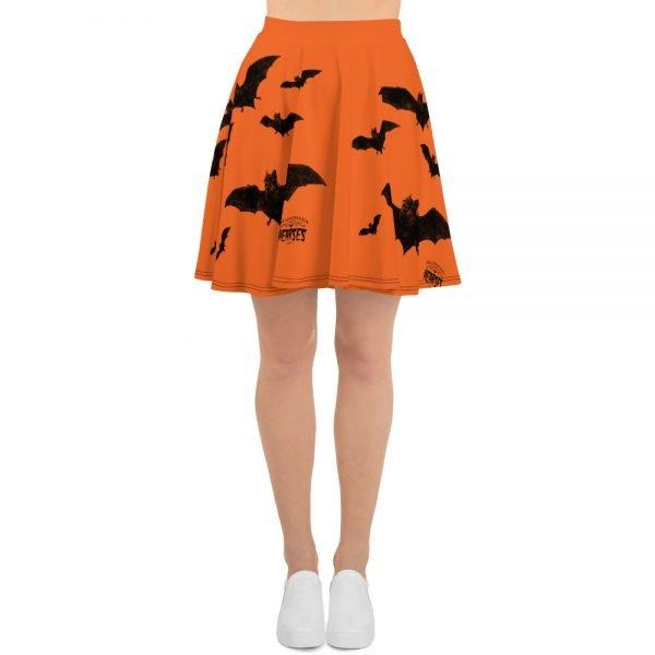 black and orange vampire bat retro skater skirt