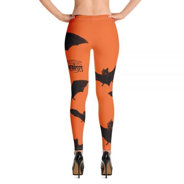 black and orange vampire bat halloween leggings