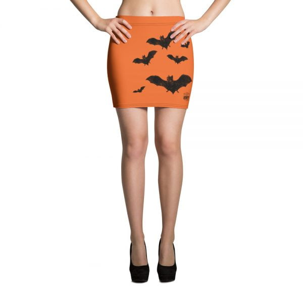 black and orange vampire bat retro mini skirt