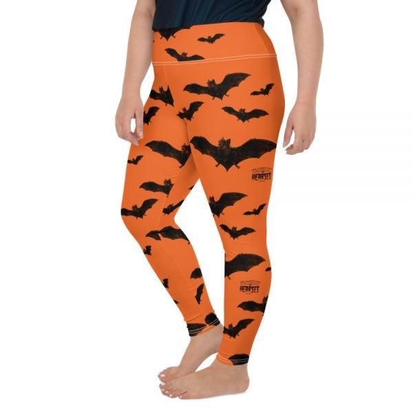 black and orange vampire bat halloween plus size leggings