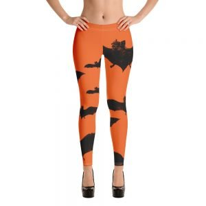 black and orange vampire bat halloween leggings