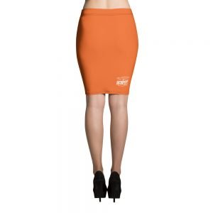 black and orange vampire bat retro pencil skirt