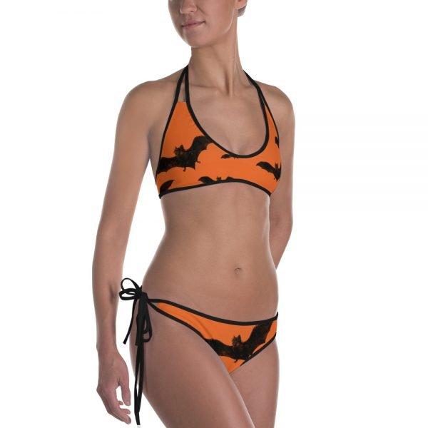 orange and black bat bikini two piece swimsuit