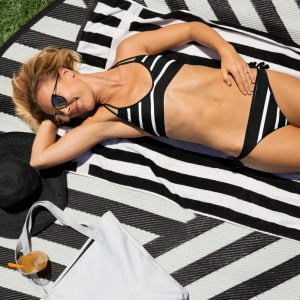 black and shite stripe two piece bikini swimsuit