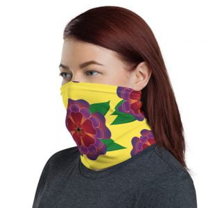 bright floral yellow neck gaiter