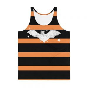 orange and black striped white bat tank top