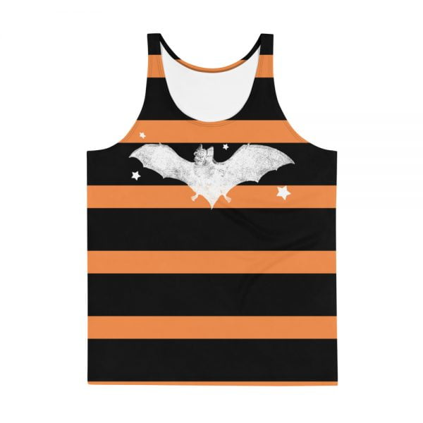 orange and black striped white bat tank top