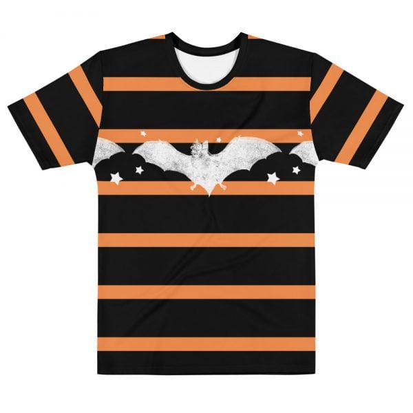 Black and orange striped white bat t-shirt
