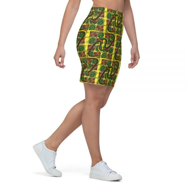 tapa style earth tone retro tiki pencil skirt