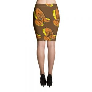 hamsa hand brown and orange retro pencil skirt