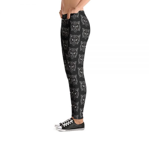 Black Cat Face repeating leggings