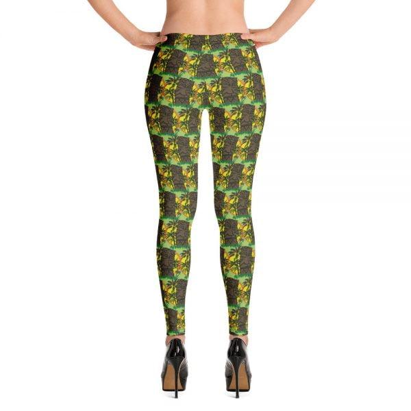 Sunset Tiki Palms repeating pattern leggings