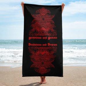 vintage script style devil face beach towel