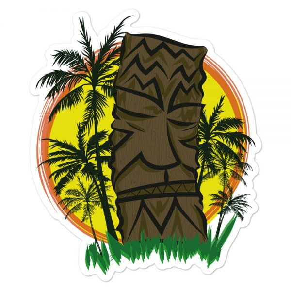 Tiki Sunset and palm trees sticker
