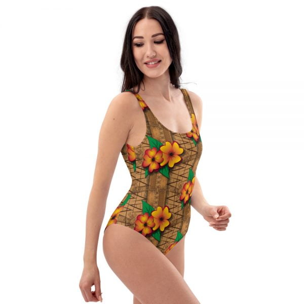 tiki style floral one-piece bathing suit