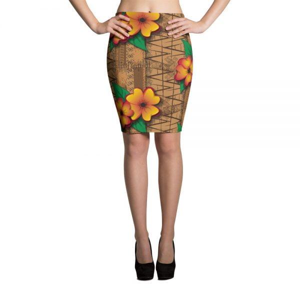 tiki style floral retro pencil skirt