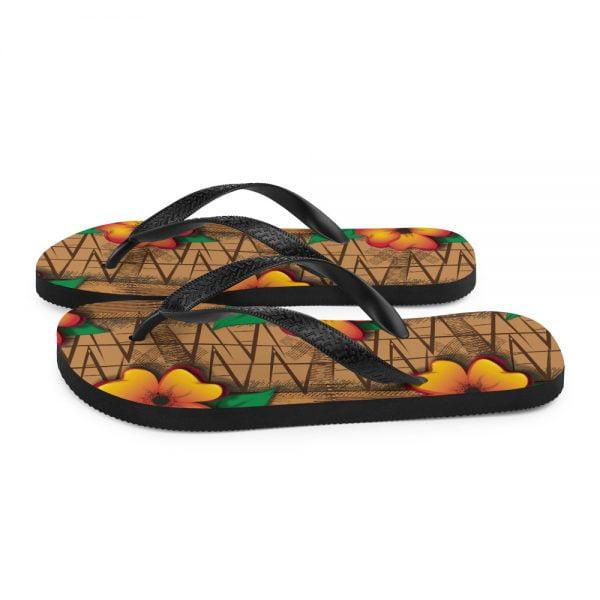 tiki style floral flip flop sandals