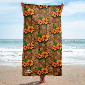 tiki style large beach towel