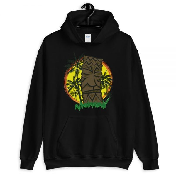Sunset Tiki Palms black hoodie hooded sweatshirt