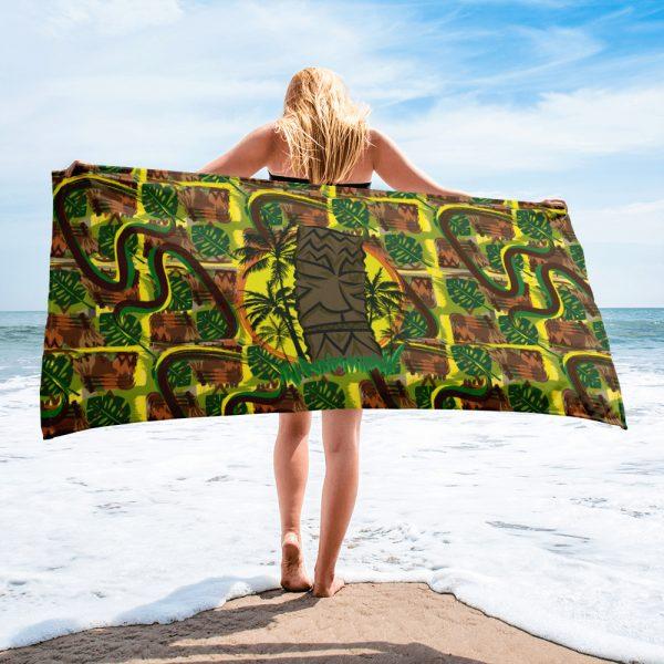 Sunset Tiki large bright beach towel